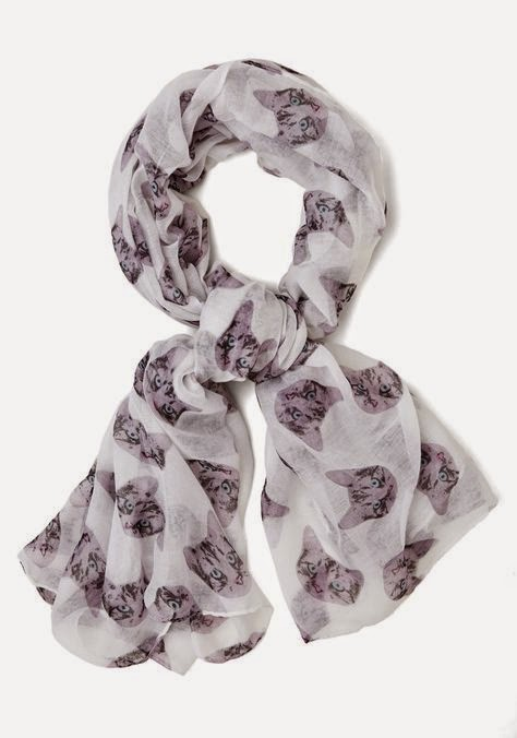 cat printed scarf