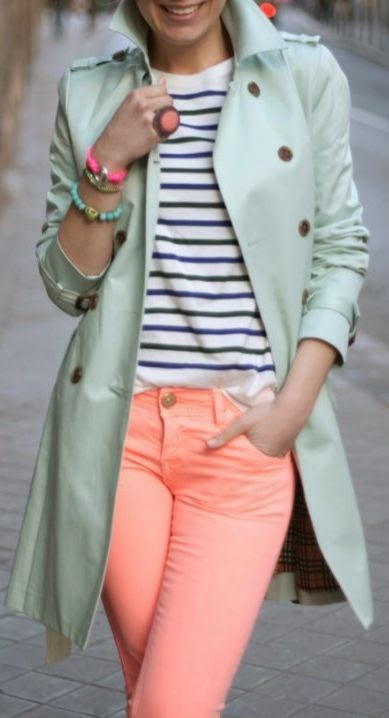 pastel pants and trench coat