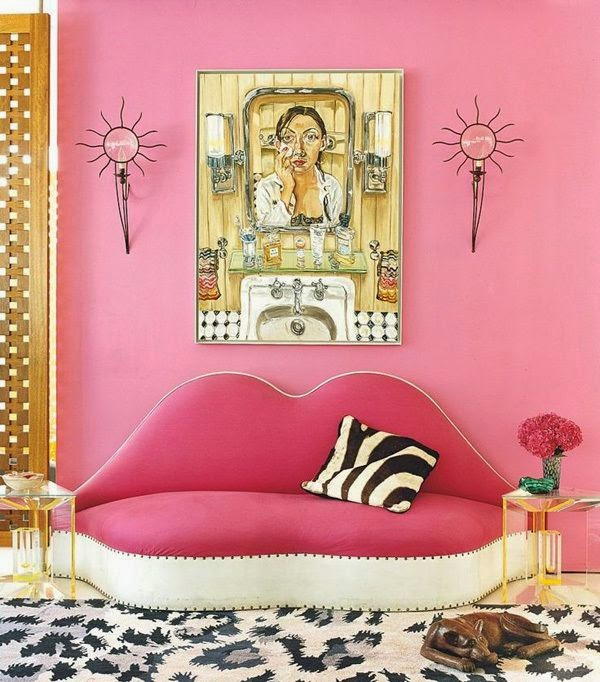 pink lip couch