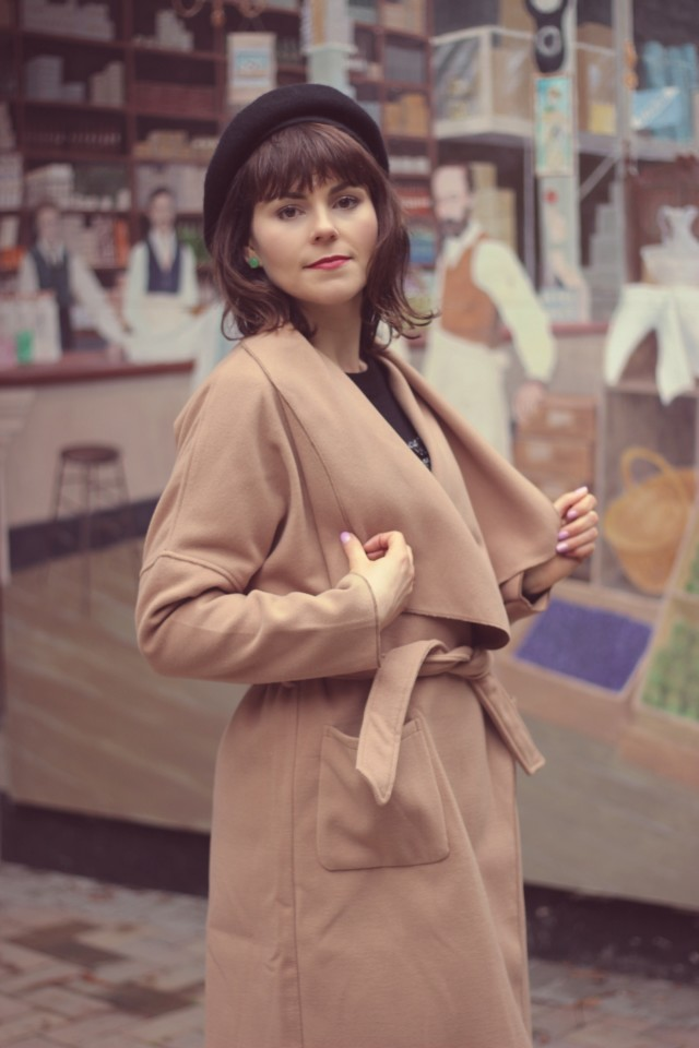SheIn Khaki Lapel Pockets Coat