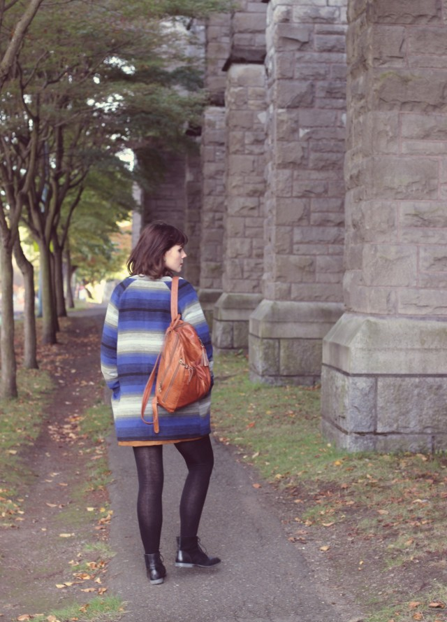 Old Navy Coat, Faux suede skirt, cable knit sweater, leather backpack