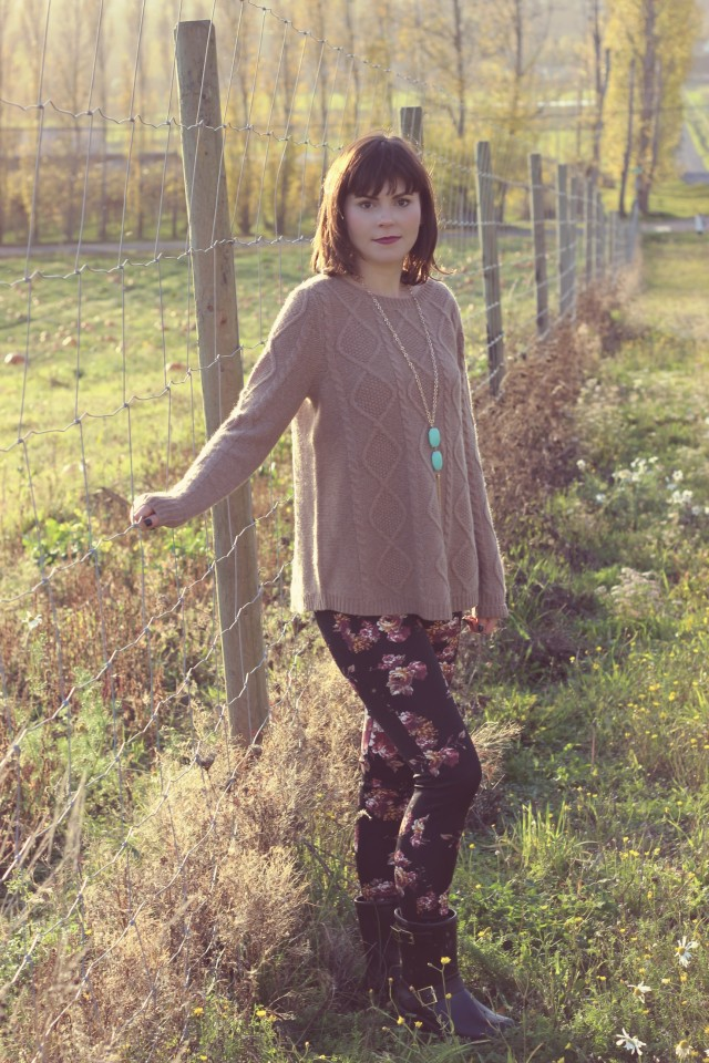 Lord and Taylor Cashmere sweater, Dex Floral leggings, Charming Charlie Necklace