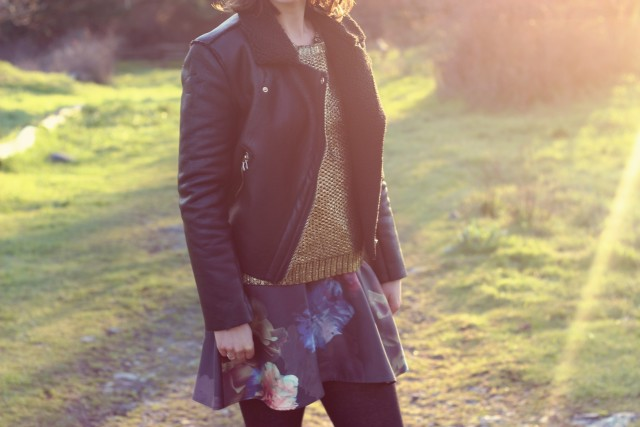Club Monaco floral oil painting skirt, gold design lab skirt, California Moonrise faux leather motto jacket, holiday fashion ideas