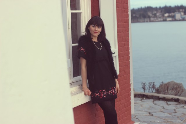 Design Lab Dress, Lord and Taylor, Club Monaco Feather Vest, Winter Fashion, Hush Puppies