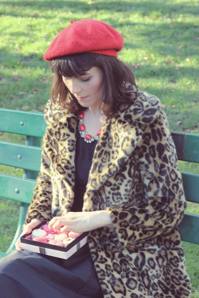 Bon Macaron, Valentine's Day, Valentien's Macaron's, ASOS leopard coat, Eshakti dress, Parisian fashion, fashion blogger, french fashion, Valentine's Day outfit ideas, Stella and Dot
