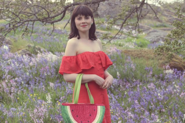 Design Lab, Lord and Taylor, Mod Cloth, Cents of Style, Watermelon Straw Bag, Watermelon bracelet, Spring Fashion, Fashion blogger, Red off the shoulder dress