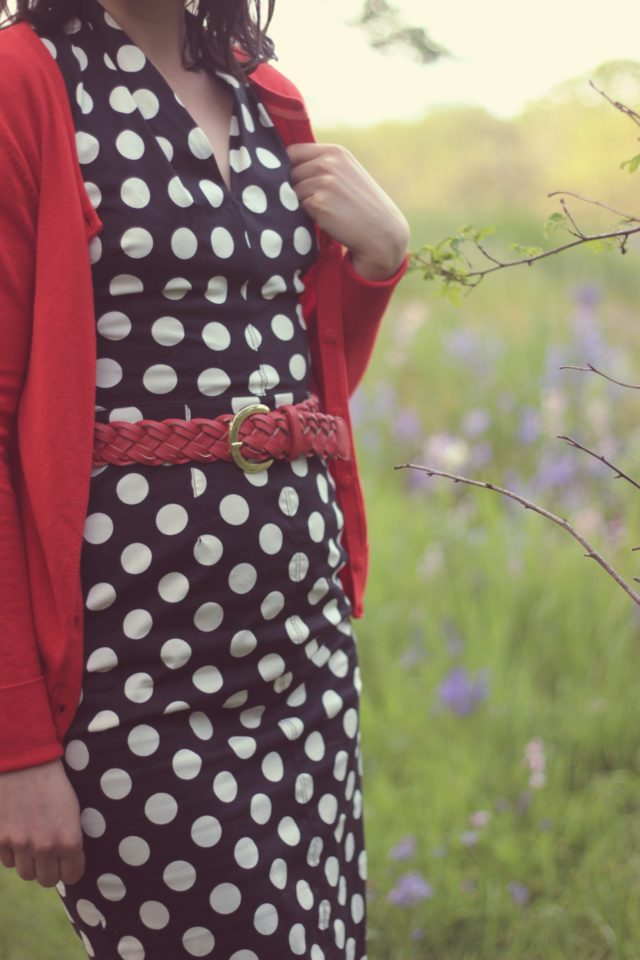 Betsey Johnson, Vintage Fashion, Polka Dot Dress, Red cardigan, Fashion Blogger, Spring Fashion