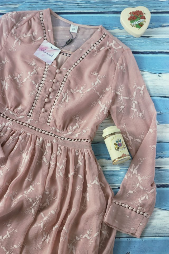 Chic Wish dusty rose bohemian dress, vintage tea tins