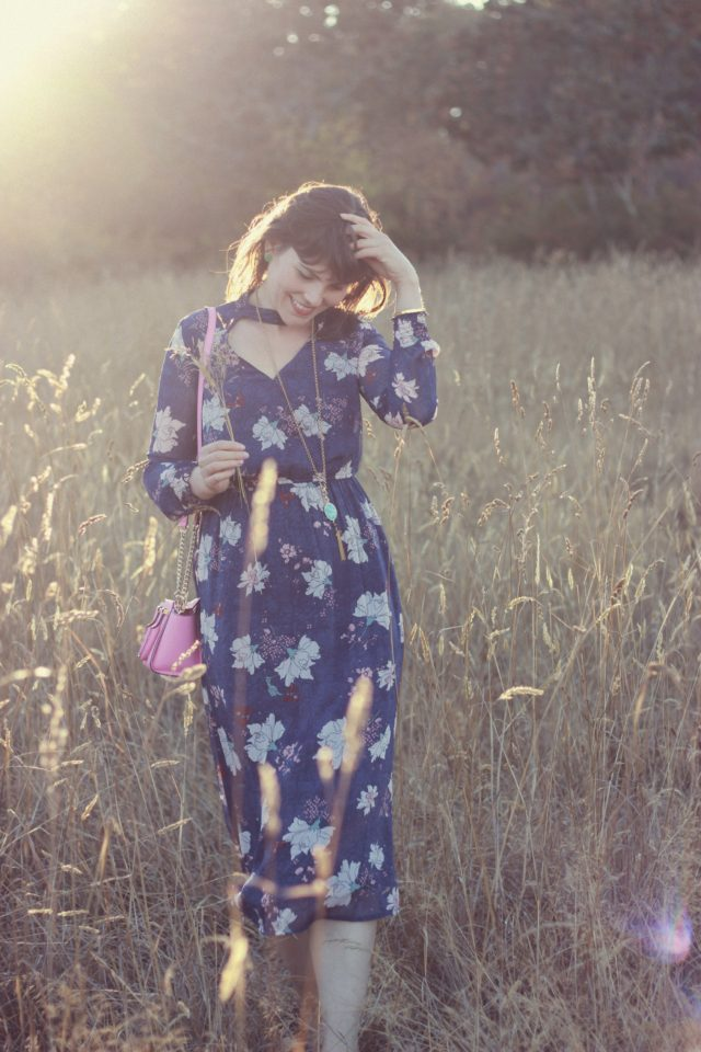 Floral Maxi Dress, Marshall's, Kate Spade New York, Pink, Fall Fashion, Stephanie Kantis, Vintage, Fashion Blogger, Style