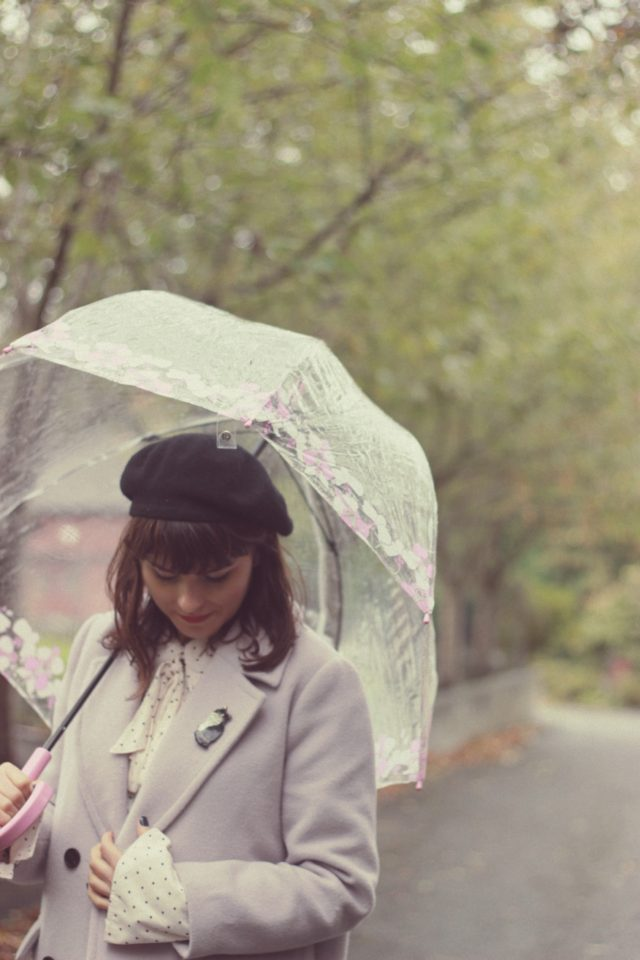 Chic Wish, Free People, Fulton, Umbrella, Birdcage, Beret, Polka dot, Old Navy. Mauve, vintage, fashion