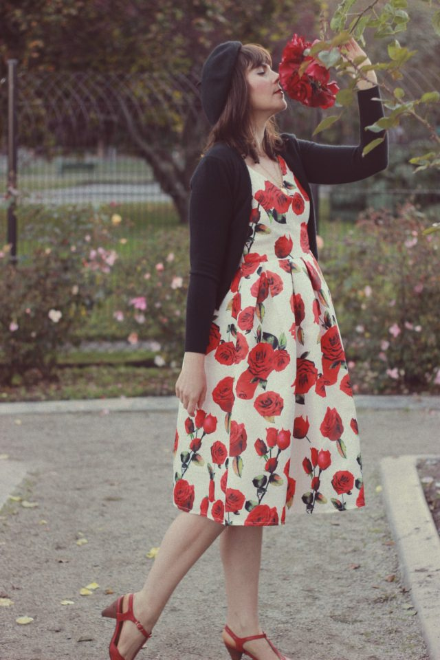 Love Like Roses Embroidered Dress, Chic Wish, Vintage, Dress, Fashion, Style, Blogger, French, Beret, Rose, Floral, Flowers