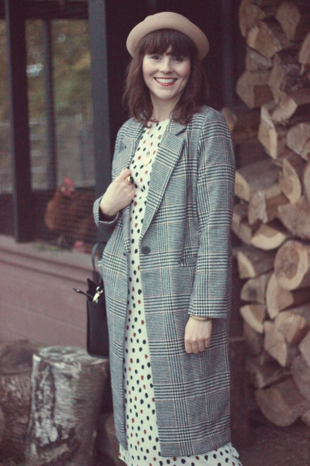 H&M, Houndstooth Jacket, Polka Dot Dress, Fall Fashion, Vintage, Fashion Blogger, Style,