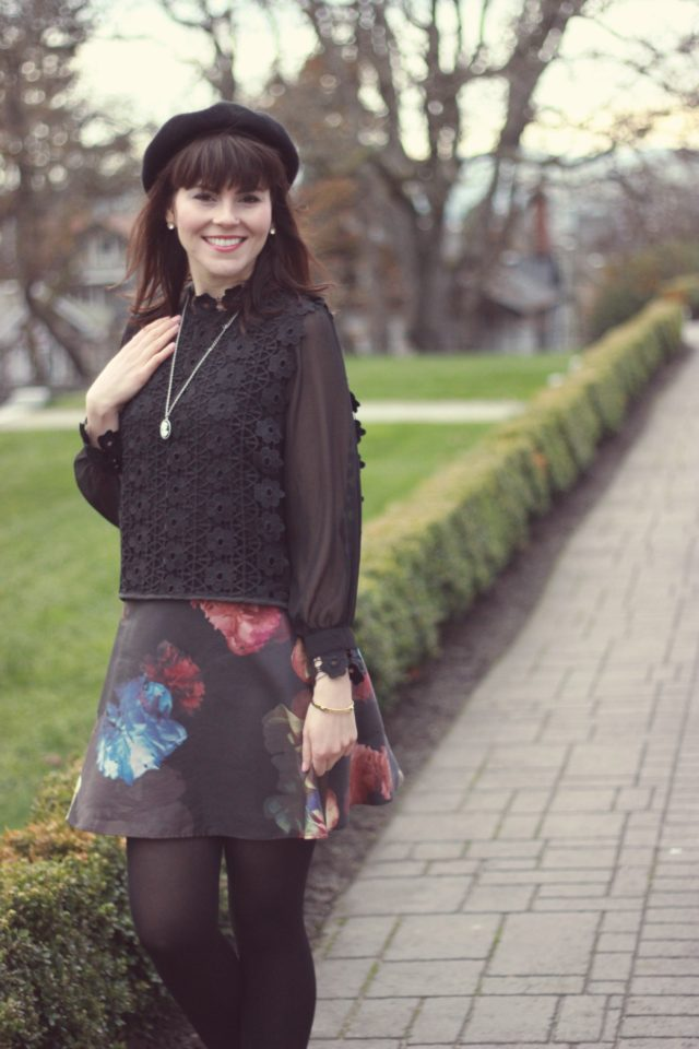 Fence of Romance Crochet Chiffon Top in Black, Floral Skirt, Chic Wish, Holiday fashion, outfit idea, blogger, style, vintage, holiday, fashion, beret, french, style,