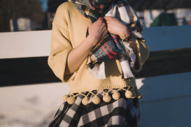 Bouncing Fun Sweater in Mustard, Chic Wish, Classic Black Check Wool-blend A-line Skirt, Festive Tartan Knitted Scarf, Sam Edelman Petty Leather Ankle Boot, Beret, Vintage, Gingham,