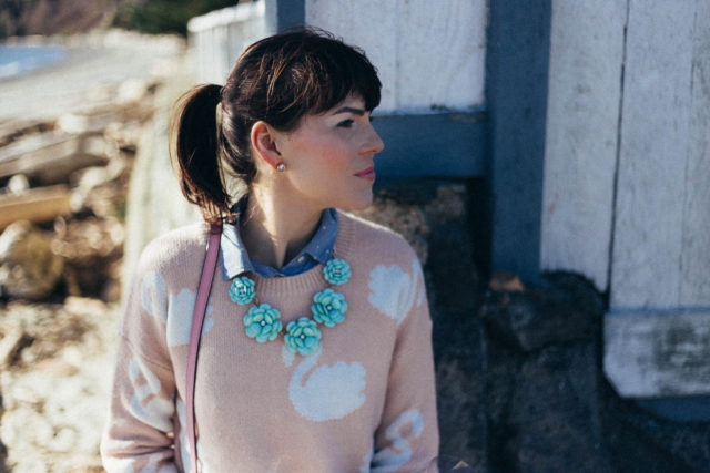 Marshall's, mom jeans, Levi's 501, floral necklace, pink swan sweater, spring fashion, vintage, pastel
