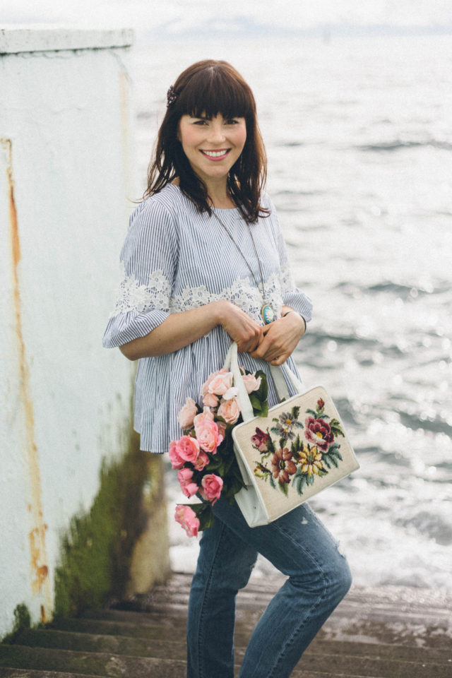 Chic Wish, Floral on Stripe Dolly Top, Levi's 501 CT, Vintage Cross Stitch bag, floral embroidery, vintage, spring, cameo