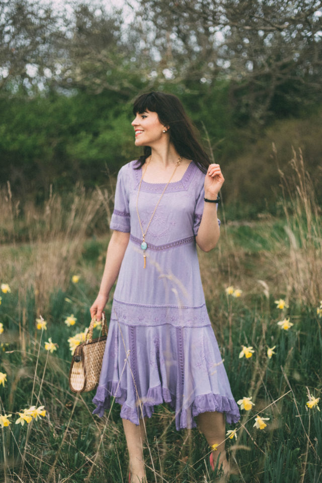 Holy Clothing, Callie Tiered Romance Dress, Lavender Blue, Boho Fashion, Bohemian, Ethical, Exclusive, Handmade, Gypsy Dresses, Festival Fashion, Coachella,