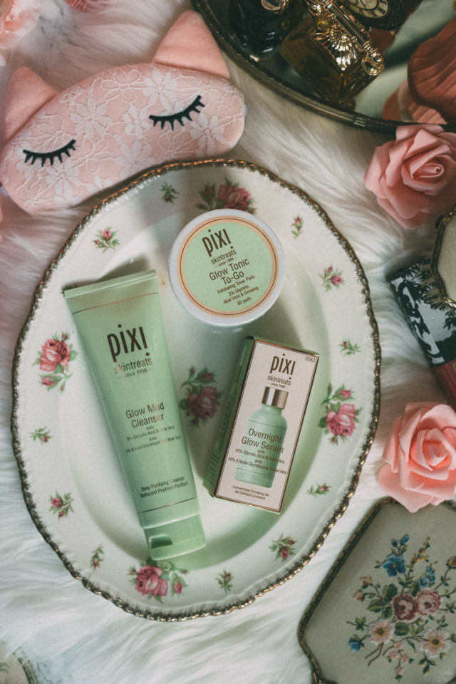 Pixi by Petra Glow Mud Cleanser, Overnight Glow Serum, Pixi Glow Tonic To-Go Make-Up Remover Pads