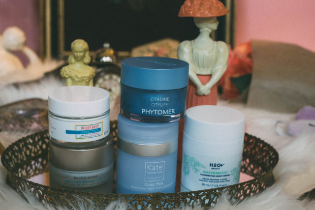 Kate Somerville Goat Milk Moisturizing Cream, Burt's Bees Intense Hydration Night Cream, H2O Plus Waterbright Illuminating Night Cream, SkinCeuticals Triple Lipid Restore, Phytomer City Life Face and Eye Contour Sorbet Cream