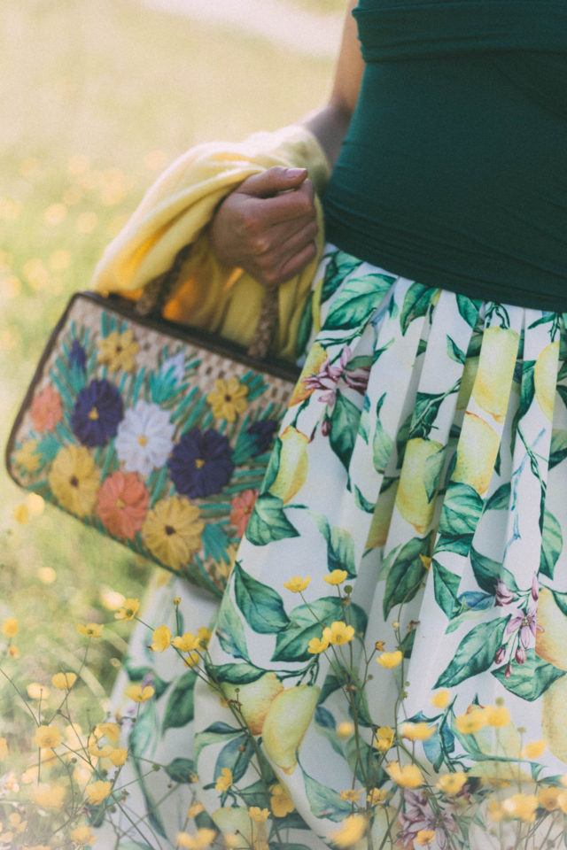 Chic Wish, Lemon Print, Midi Skirt, straw bag, vintage, summer, fashion