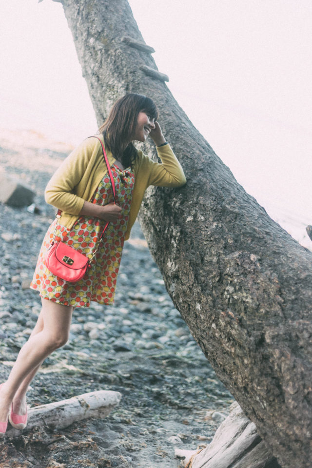Lemon print, dress, fruit, yellow cardigan, vintage, Target, Marshall's, summer, beach,