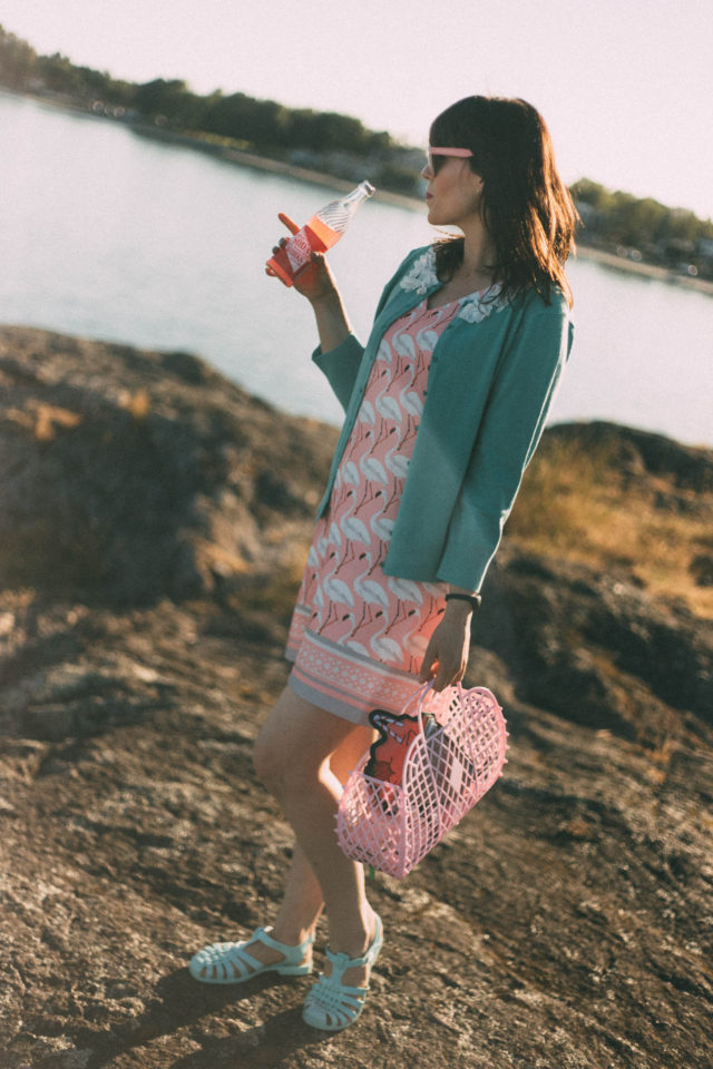 Marshall's, Flamingo Dress, summer, fashion, floral appliqué, teal cardigan, sun jellies, pink cat eye, soda pop