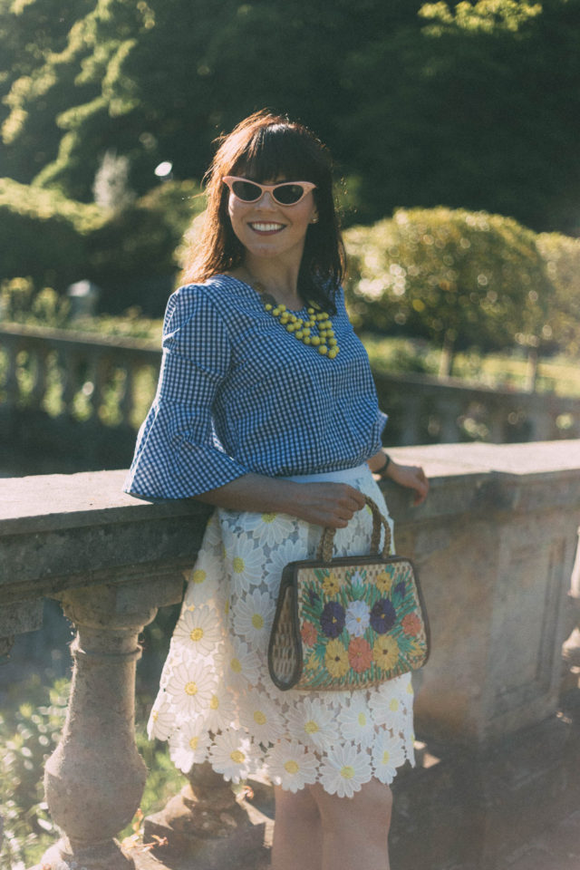 gingham, Daisy, Lace, bell sleeves, marshall's, chic wish, vintage, summer, cat eye sunglasses, straw bag