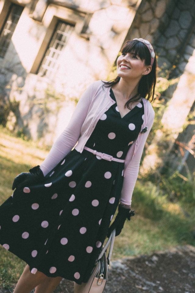 GIRLS WANNA HAVE FUN DRESS, Review Australia, MAGGIE LONG SLEEVE CARDI, VINTAGE BROOCH, PIXIE HEADBAND, CUPIDS BOW GLOVES, LADY BOW BAG, Parisian, Polka dot, pink, vintage