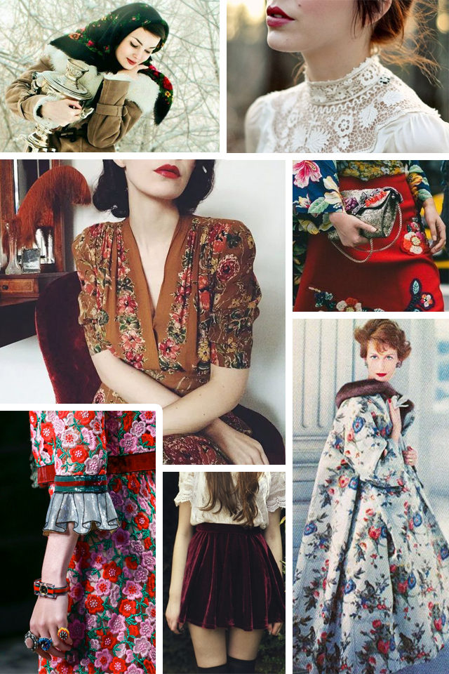 Fall 2017 Fashion Trends, vintage inspired furs, 70s plaid, victorian collars, retro hats, couch florals, Russian doll Vibes, formal velvet, belted coats,