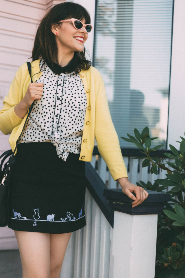 Adorable Kitten Embroidered Skirt in Black, Pink Cat Eye Sunglasses, Kate Spade, Cat Bag, Vintage, Yellow cardigan, Polka dot blouse, summer, retro, fashion, style,