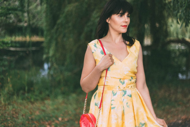 Flora Sunflower Belted Dress, Vintage, retro, Joanie Clothing, Dress, Yellow, Kate Spade New York, Floral,