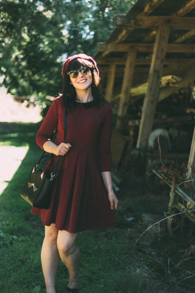 Wednesday Crochet Collar Dress, Joanie Clothing, Peter Pan Collar, Kate Spade New York, Cat Bag, Versace, Beau XoXo, Fall, Fashion, beret, vintage, style, dress, Pinky