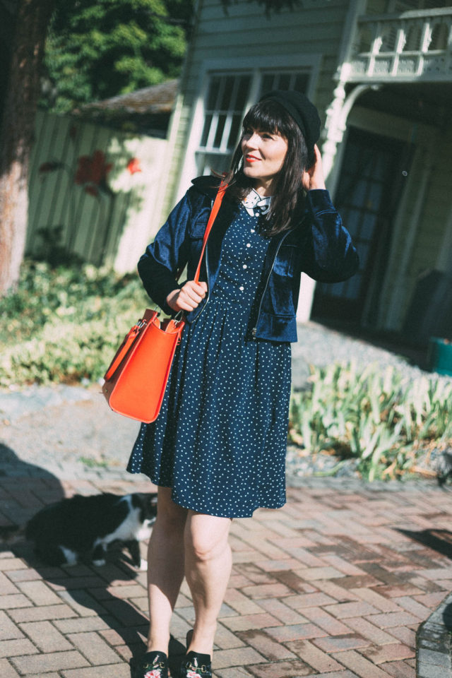 Bowie Cat Dress, Miss Patina, vintage inspired fashion, David Bowie, Miss Patina Cat, Cat Lady Jacket, embroidered velvet cat, Fall, fashion, Beret, Review Australia,