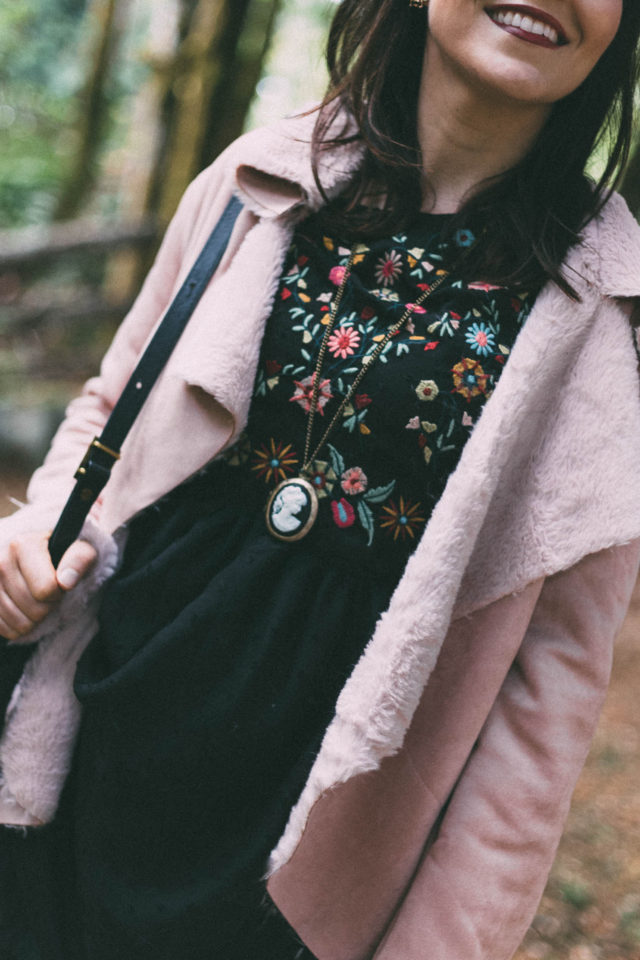 Embroidered Detail Mesh Sleeve Smock Dress, Oversized Collar Curved Faux Shearling Jacket, Floral Bag, Pink, shearling, embroidery
