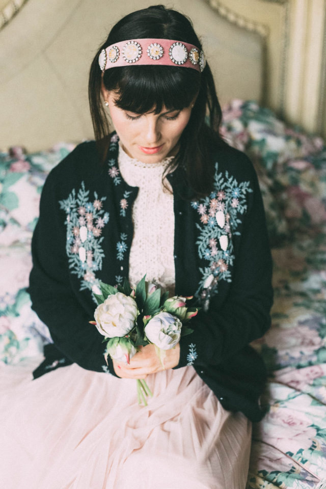 So Loves Vintage, vintage fashion, Beaded Cardigan, Victorian, lace, flowers, tulle, retro, sweater, cardigan,