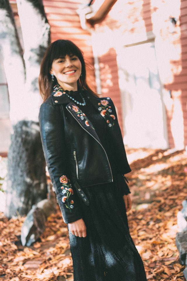 Drive Me to Garden Embroidered Faux Leather Jacket in Black, Camryn Glass Statement Necklace,Camryn Glass drop earrings, Black lace dress, Victorian, Wentworth Villa