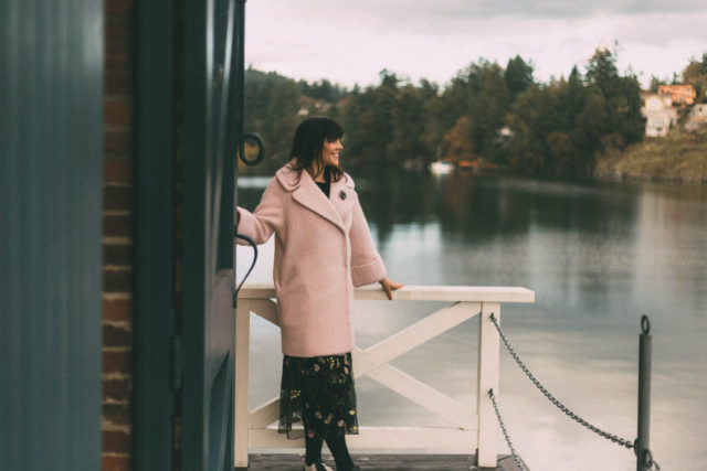 Ever New, Pink Jackie Coat, Vintage, Lace Insert Boat Neckline Mohair Sweater, SheIn, H&M Mesh Skirt with Embroidery , H&M, Cole Island, Victoria, BC