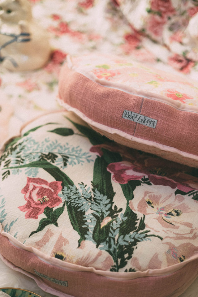 Hilary Hope, High quality floor pillows, tote bags, handcrafted, Victoria, BC, vintage fabrics, retro, vintage, eco friendly, sustainable, round pillow, shabby Chic, floral, fabric,