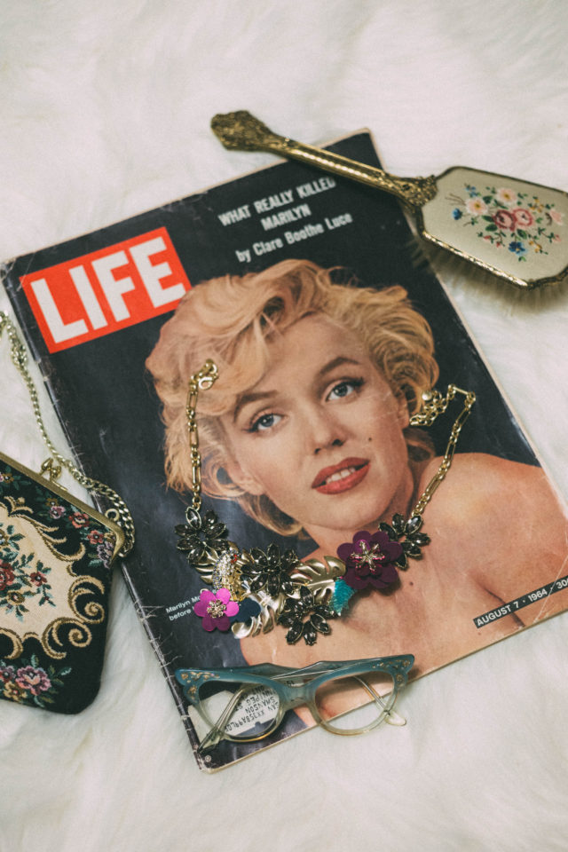 Queen of Blooms Statement Necklace, BAUBLE BAR, H&M, H&M Glittery Sweater , Tulle, Skirt, Vintage Life Magazine, Vintage glasses, Marilyn Monroe,