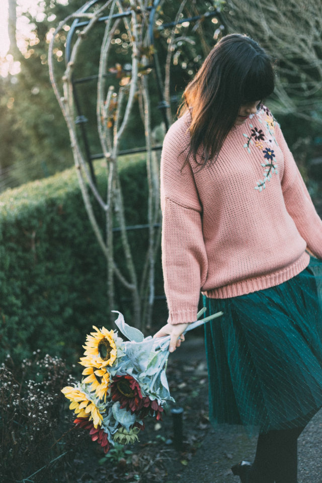 Flickering Lines Tulle Mesh Skirt in Green, Chic Wish, Flowering Branch Chunky Knit Sweater in Cora, chunky sweater, vintage fashion, tulle skirt, winter fashion, floral embroidery