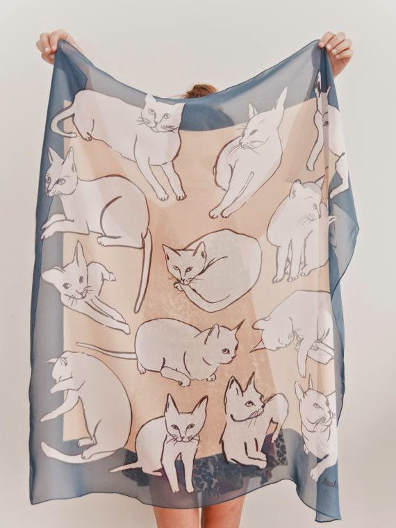 Picasso Cat printed scarf