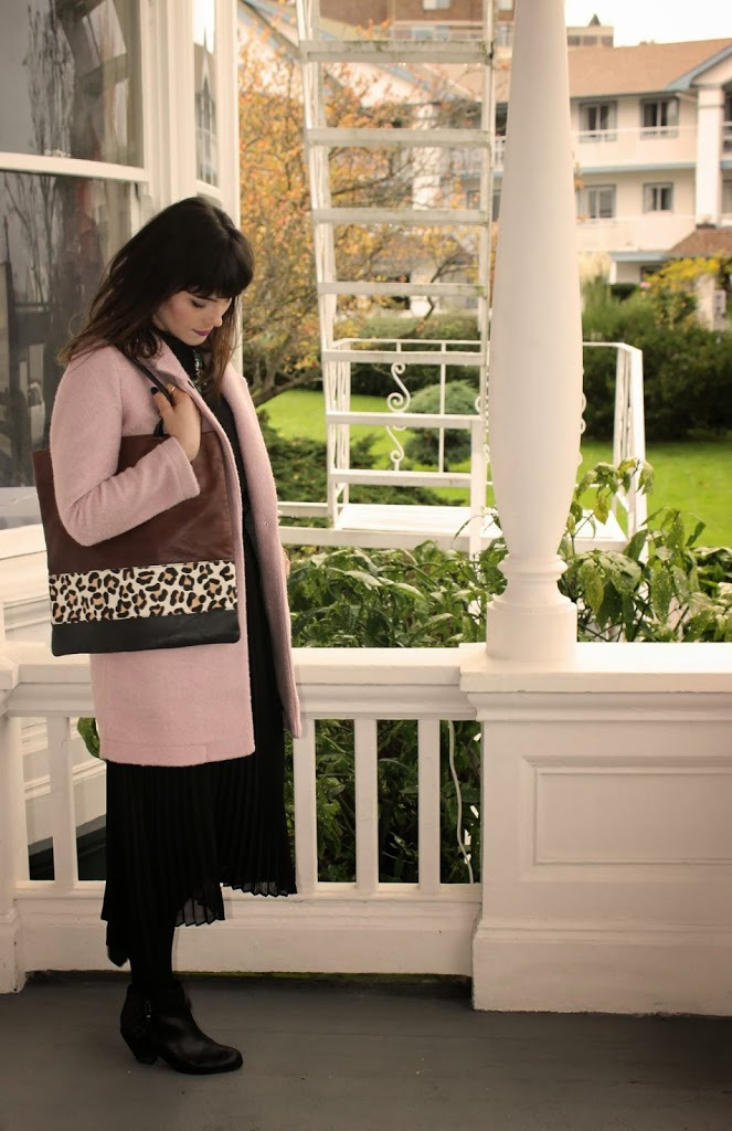 Pink coat and leopard purse