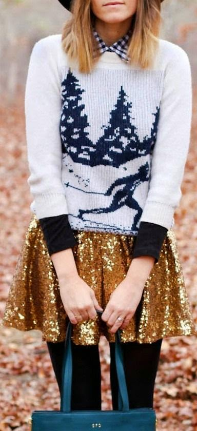 holiday sweater and sequinned skirt