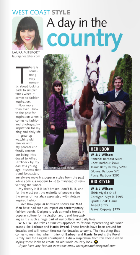 Monday Magazine December 2015, Equestrian Fashion, W&J Wilson, Barbor, Horses fashion Editorial