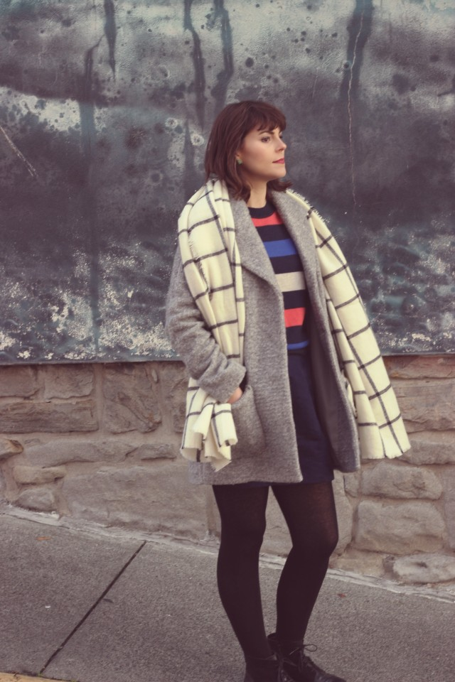 Old Navy Cocoon coat, blanket scarf, faux suede mini skirt
