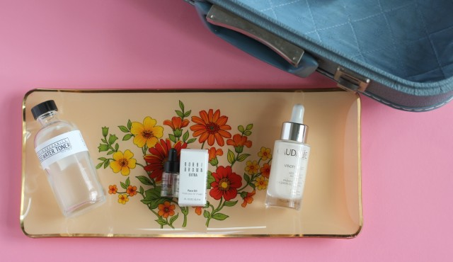 Glam Glow, First Aid Beauty , Caudalie, Dove Dry Spray Deo, Bobby Brown Face oil, Urban Organics Rose Water Toner