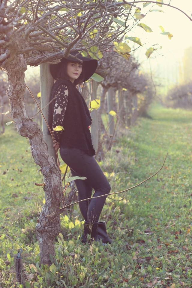 Design Lab Blouse, Kensie Girl Vest, Design lab black skinny jeans, Charming Charlie, H&M Hat