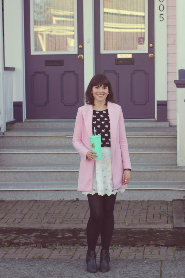 H&M pink swan shirt, pink coat, Club Monaco white lace skirt, Frilly Lilly Nails