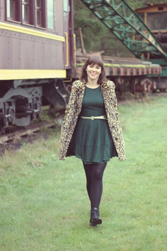 ASOS leopard print coat, H&M green dress, Charming Charlie gold belt