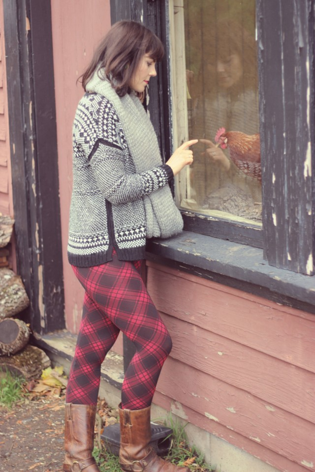 Black Sheep Leggings, Old Navy Sweater, Frye Harness Boots, Club Monaco Scarf, AEO Faux Fur Snood
